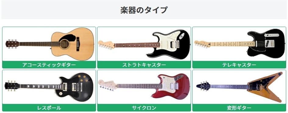 楽器のタイプ アコースティックギター/ストラトキャスター/テレキャスター/レスポール/サイクロン/変形ギター